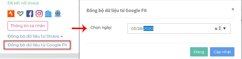 Cập nhật Google Fit thủ công