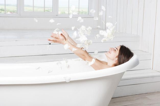 happy female bath