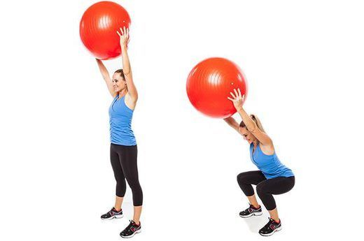 overhead ball squat