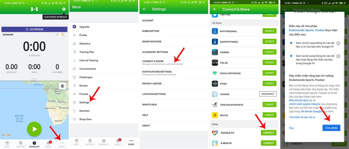 Kết nối Google Fit với Endomondo