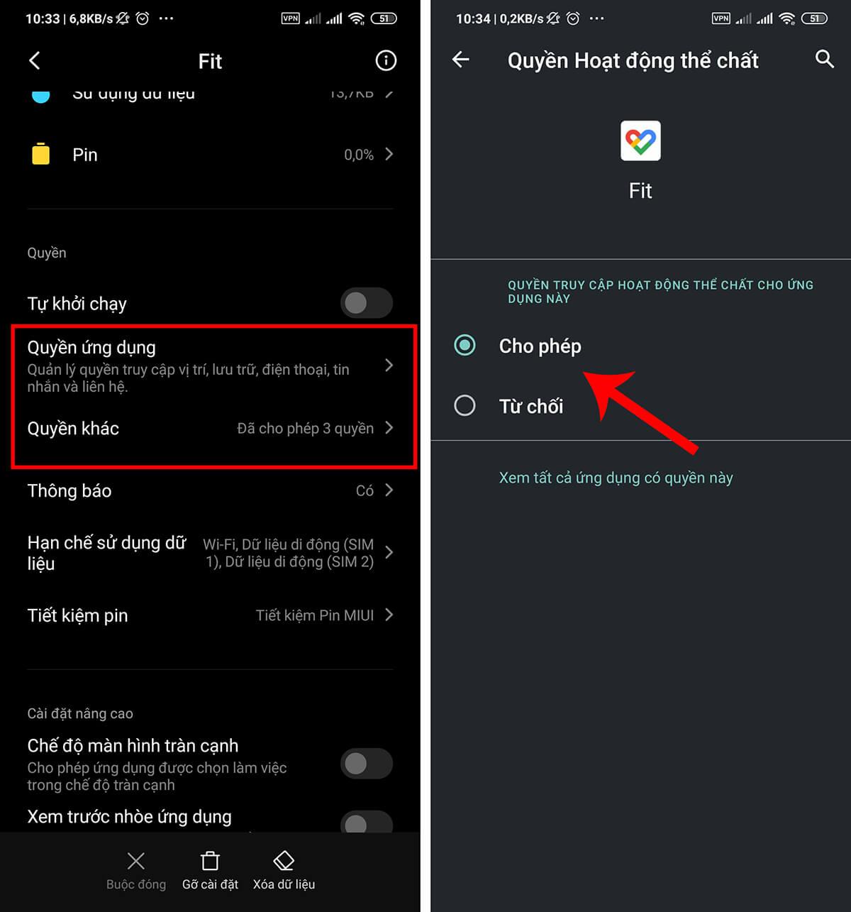 Nhập quyền cho Google Fit