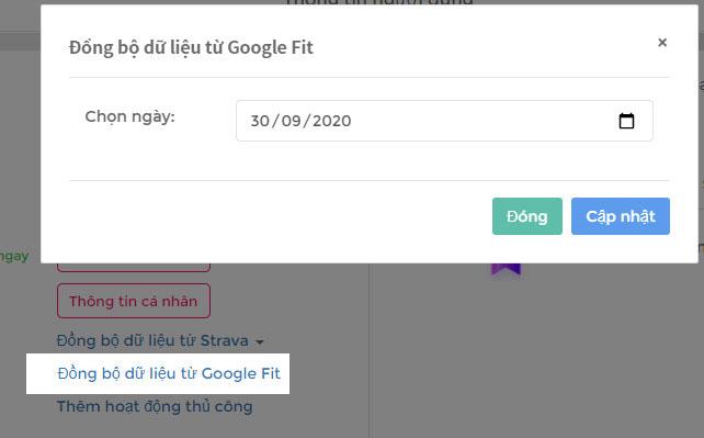 Đồng bộ Google Fit