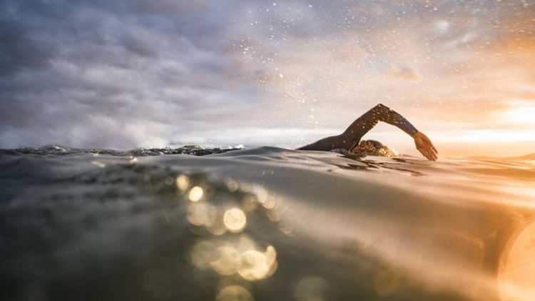 closeup man swimming