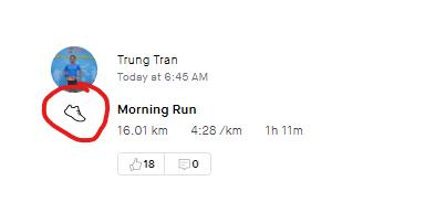 Nếu bạn tham gia chạy bộ, icon hoạt động phải là hình chiếc giày