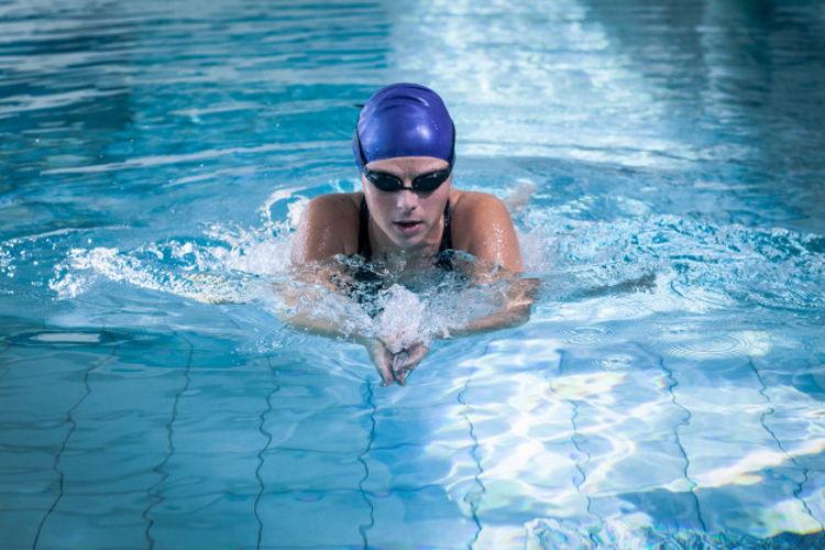 fit woman swim