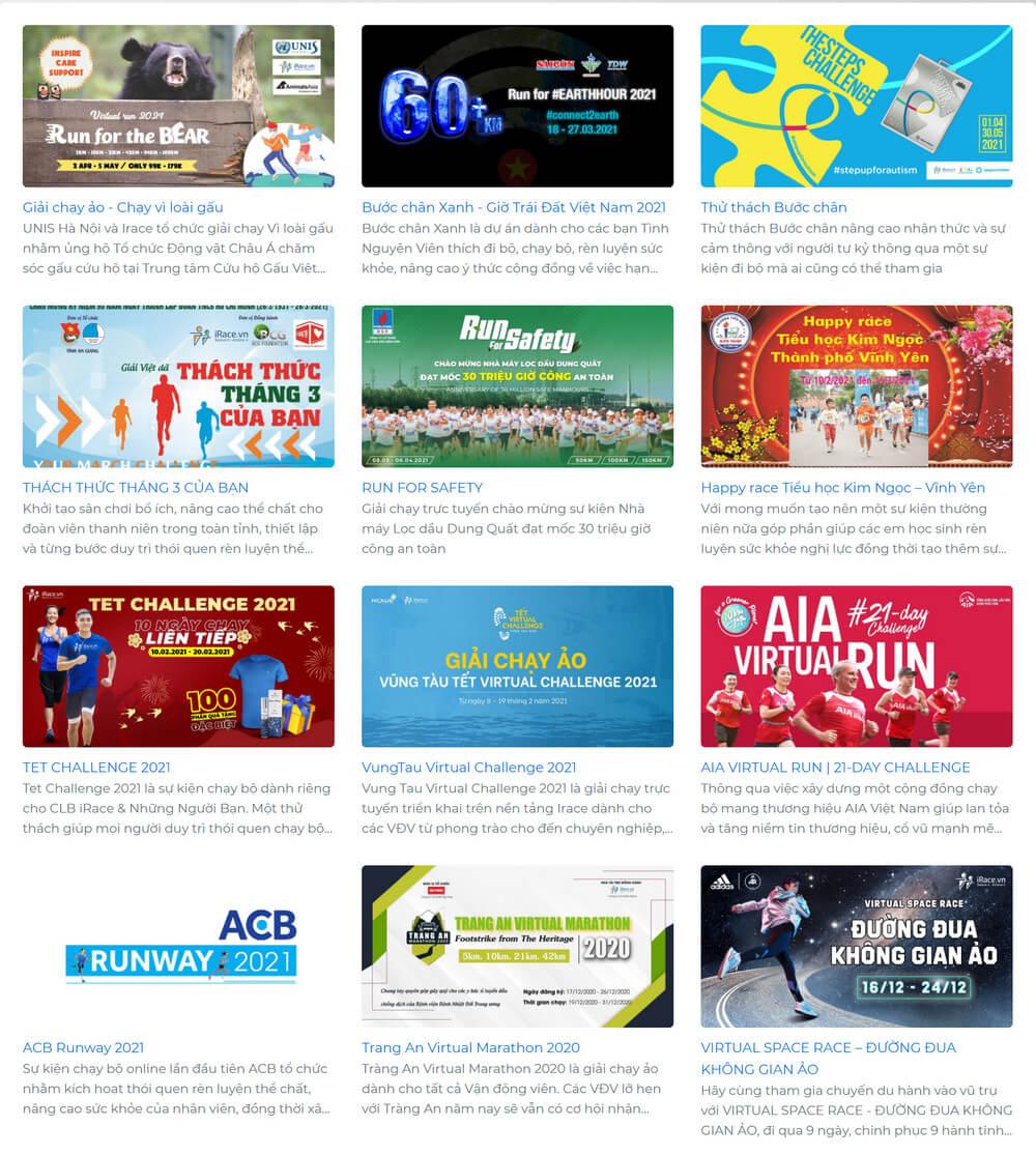 Một số sự kiện chạy bộ trực tuyến được các doanh nghiệp tổ chức trên iRace